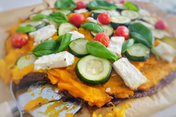 Feta, Veggie Pizza With Pumpkin Puree
